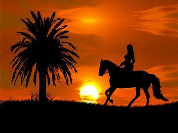 Frau mit Pferd bei Sonnenuntergang und Palme (Pferd im Sonnenuntergang) von Cor Heijnen