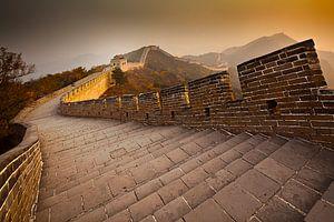 Chinese muur bij zonsondergang