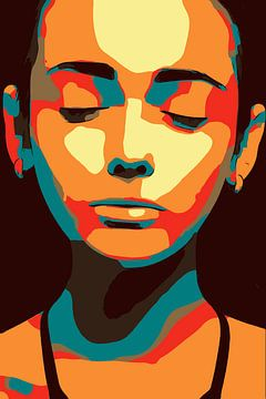 Visage féminin minimaliste, yeux fermés, zen, dans le pop art sur Maureen Kroep