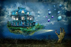Das Haus auf der Insel schwebt davon mit Luftballons