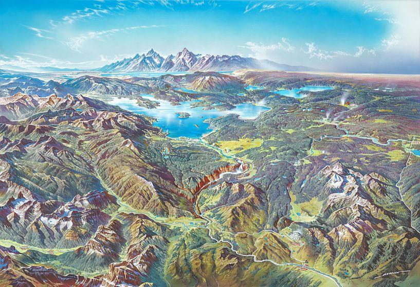 Plattegrond van het Nationaal Park Yellowstone (zonder labels), Heinrich Berann van Creatieve Kaarten