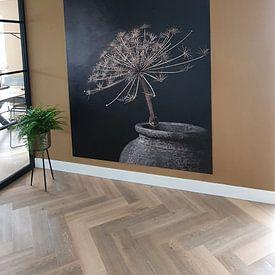 Kundenfoto: Stilleben mit großer getrockneter Bärenklaue in grauem Steingefäß von Mayra Pama-Luiten, auf nahtloser fototapete