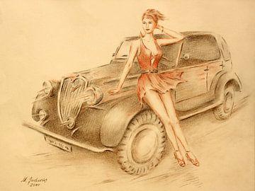 Model en Oldtimer - Vintage auto schilderij van