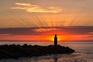Zonsondergang aan de Noordzee van
