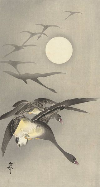 Ganzen bij volle maan van Ohara Koson van Gave Meesters