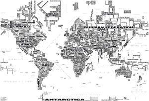 Wereldkaart Typografie, Zwart & Wit
