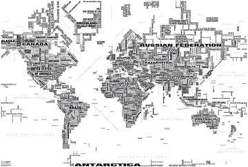 Typografische Weltkarte, Schwarz und Weiss