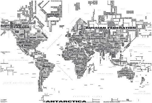 Wereldkaart Typografie, Zwart & Wit  van