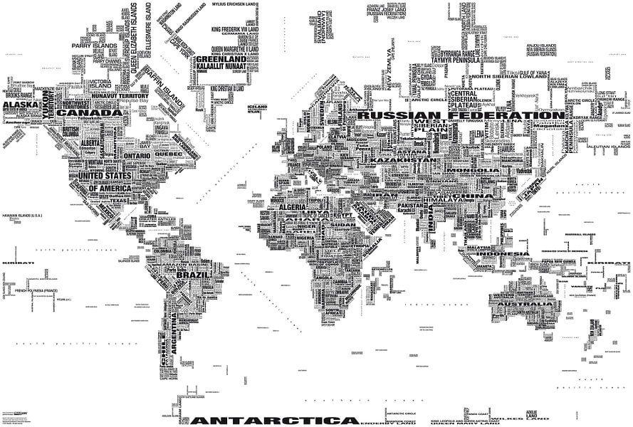 Wereldkaart Typografie, Zwart & Wit  van MAPOM Geoatlas