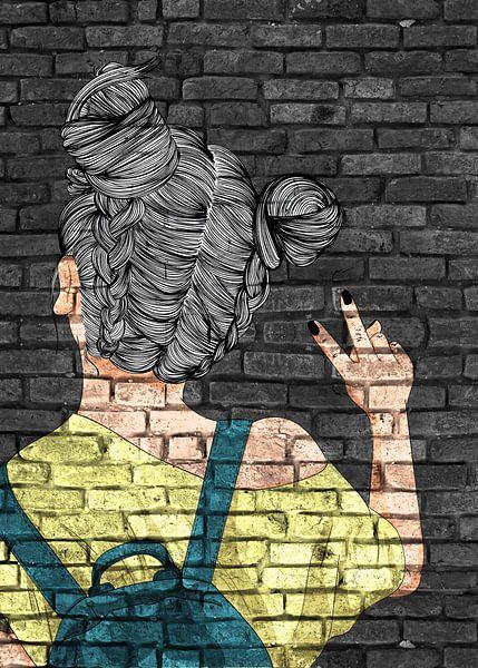 Coole tienermeisjes graffiti op metselwerk van KalliDesignShop