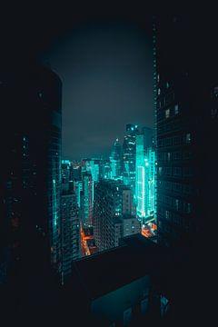 Futuristische Nacht in Hongkong von Mickéle Godderis