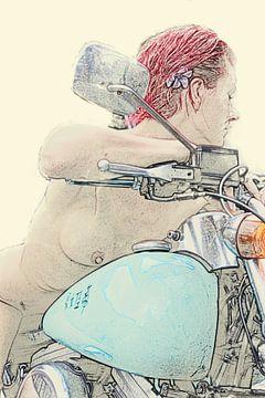 Malerische Arbeit einer rothaarigen nackten Frau auf einem Motorrad von Cor Heijnen