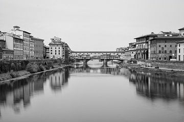 Ponte Vecchio zwart/wit van Leo van Valkenburg