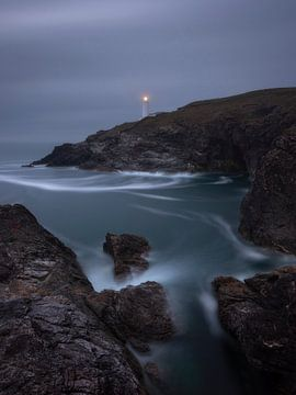 Trevose Head vuurtoren in het mooie Cornwall in Engeland. van Jos Pannekoek