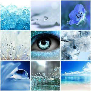 blauwe collage van