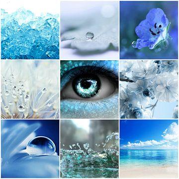 blauwe collage van Marja Hoebe