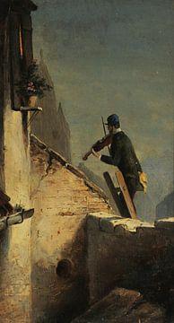 Carl Spitzweg, Serenade (Geige um Mitternacht auf der Leiter) - 1850 von Atelier Liesjes
