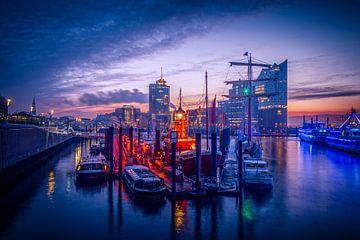 De Elbphilharmonie Concertzaal in de Hamburgse Hafencity. Op de voorgrond de jachthaven van Baumwall van Ingo Boelter