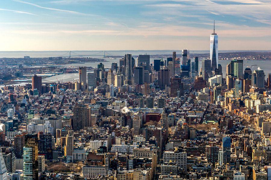 Uitzicht over Manhattan, New York City van Jasper den Boer