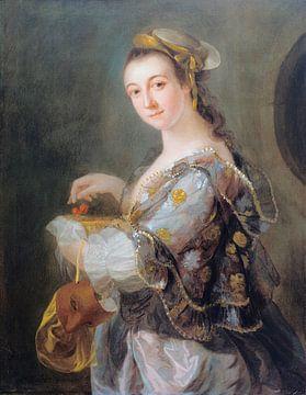 Bildnis einer Dame mit Maske und Kirschen, Benjamin Wilson