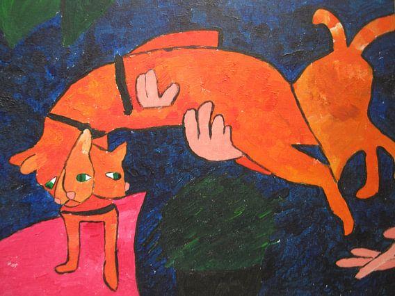 Jumping cat van Amber van den Broek