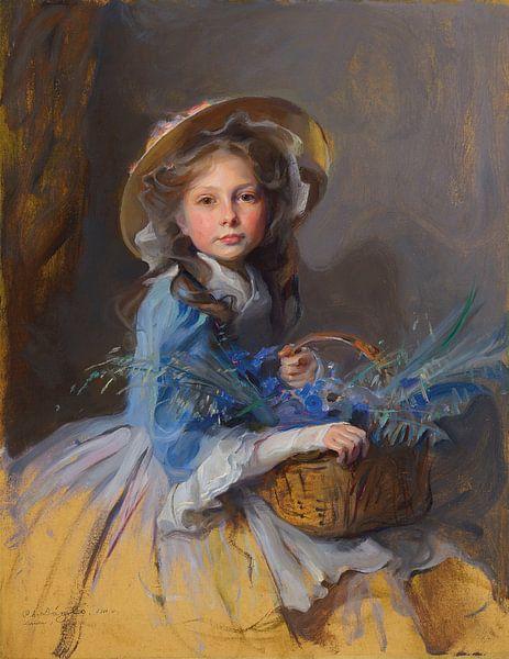 Girl with Flowers van David Potter
