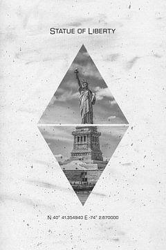 Koordinaten NEW YORK CITY Freiheitsstatue von Melanie Viola