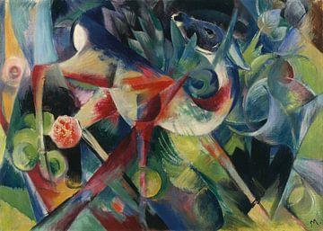 Hirsch im Blumengarten, Franz Marc