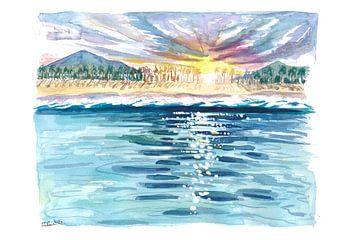 Uitzicht op het strand vanaf de Caribische wateren met zonneglitter van Markus Bleichner