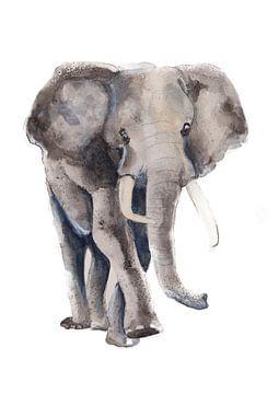 Print van een olifant, bijzondere dieren illustratie van