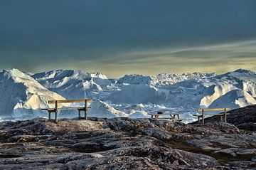 Groenland Gezicht op de Sermeq Kujalleq-gletsjer van Iris Heuer