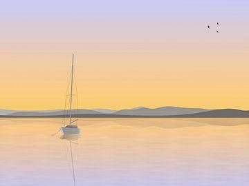 Zeilboot voor anker van Jan Brons