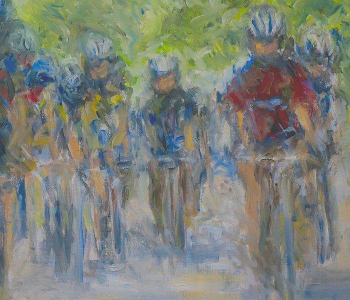 Tour de France expressionistisch schilderij olieverf van Paul Nieuwendijk