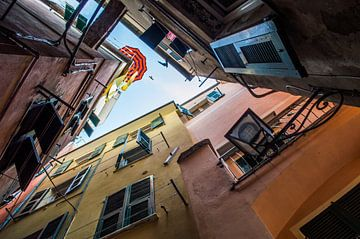 Smalle straatjes in Cinque Terre van Thom Sabel