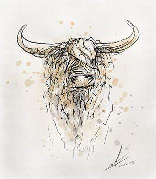 Modern landelijk schilderij van een schotse hooglander stier van Emiel de Lange
