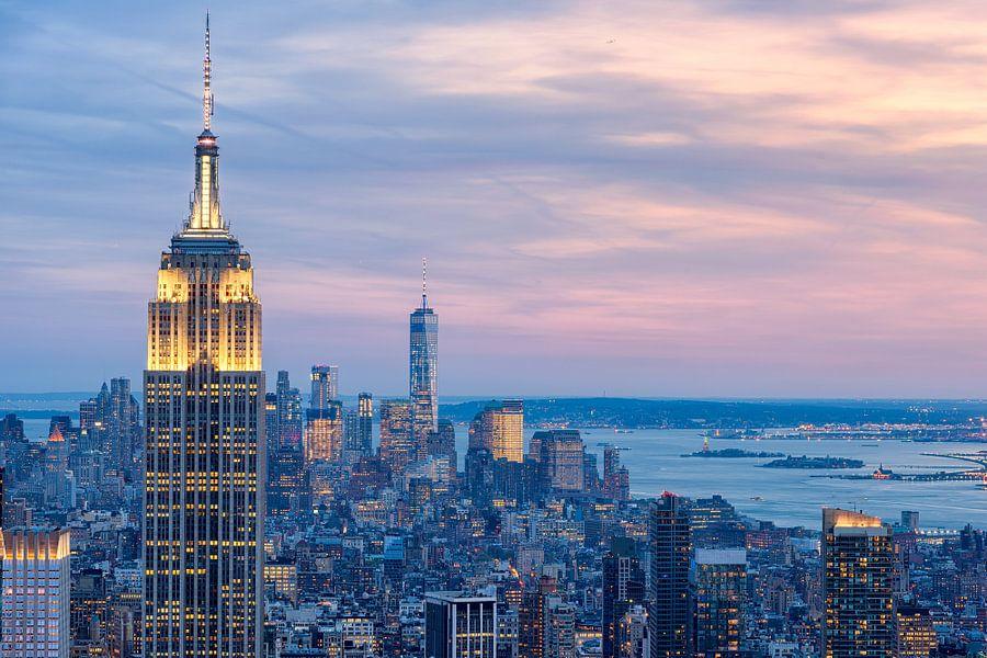 Manhattan vanaf Top of de Rock (Rockefeller Center) van Mark De Rooij