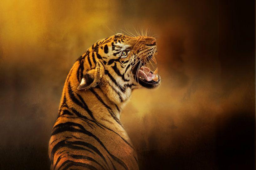 Growling Tiger On Canvas sur Diana van Tankeren
