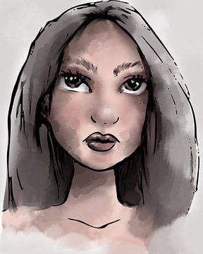 Zähe junge Frau - Portrait digital koloriert von Emiel de Lange