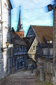 geschilderde dorpsstraat van Edgar Schermaul