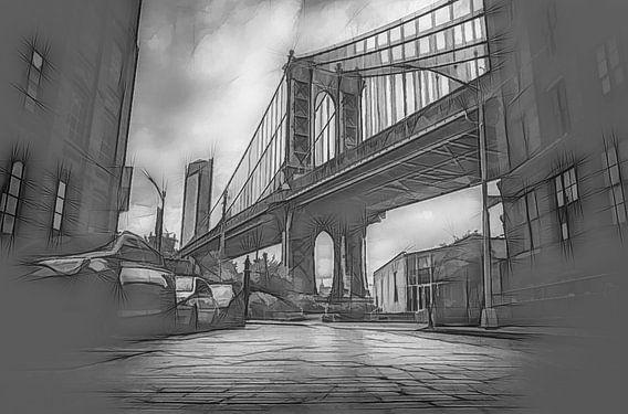 Manhattan Bridge - Grafische schets