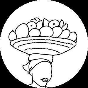 Vrouw draagt een mand fruit op haar hoofd van MishMash van Heukelom