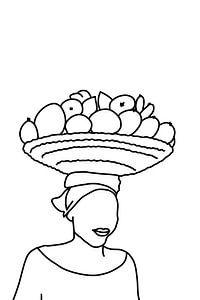Vrouw draagt een mand fruit op haar hoofd