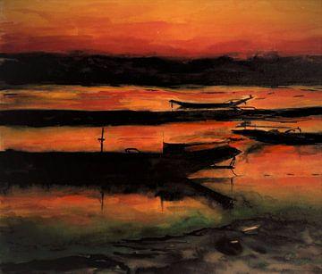 Ondergaande zon in Thailand van Ineke de Rijk