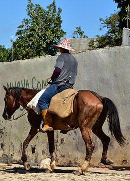 Cubanse boer op dravend paard, portret van Jutta Klassen