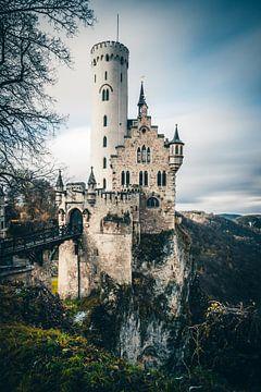 Kasteel of lichtenstein kasteel in een lange tijd belichting van Fotos by Jan Wehnert