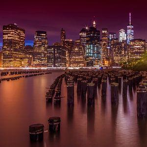 Manhattan Skyline bij zonsondergang