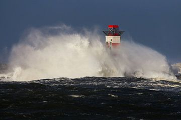 Noordpier IJmuiden tijdens herfst storm langs de kust von Menno van Duijn