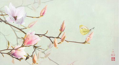 Magnolia en geaderd witje von Fionna Bottema