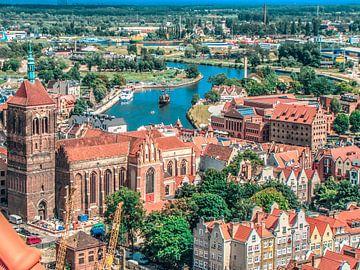 Zicht op de kathedraal en haven van Gdansk, Polen van Rietje Bulthuis