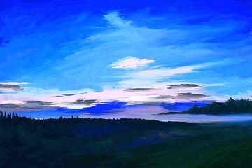 Impressionistisch landschapsschilderij in klassiek blauw van Tanja Udelhofen
